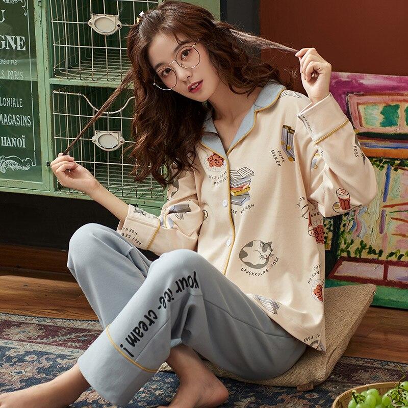BZEL Hot Sale Women's Sleepwear Sets Large Size Pajamas Set Cotton Casual Homewear Loungwear Cute Cartoon Nightwear Pijama M-4XL