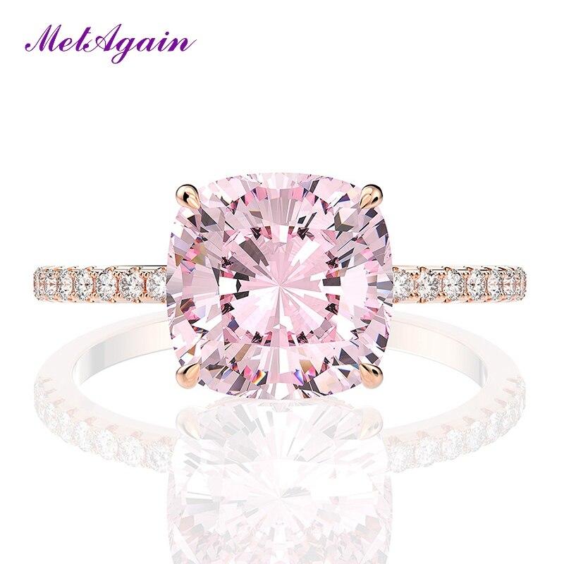 ELSIEUNEE 럭셔리 로즈 골드 컬러 10MM 핑크 쿼츠 다이아몬드 웨딩 약혼 반지 패션 발렌타인 데이 파인 쥬얼리 반지 선물