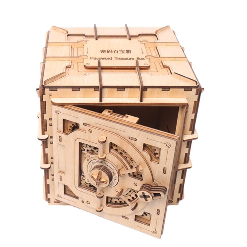 Unidad mecánica creativa DIY 3D tesoro pecho madera rompecabezas cajas juego de ensamblaje juguete regalo para niños adolescentes adultos