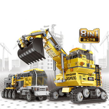 893 PCS City Technic Engineering Vehicle Building Blocks Set Creator Excavator Trucks Deformation Bricks Toys For Children gift