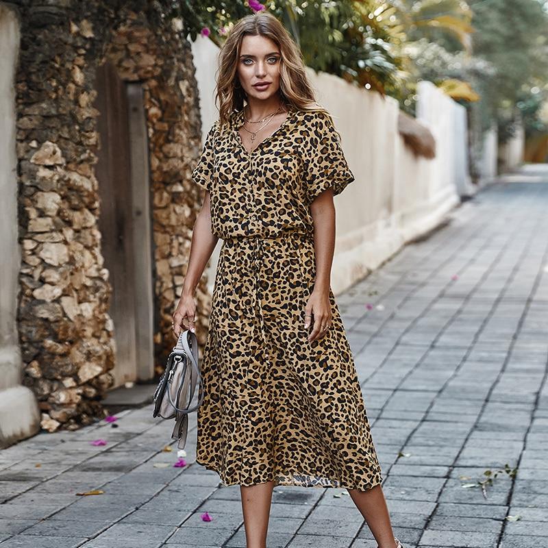 Fashion Polka Dot Print Dress Women High Waist Sashes A Line Summer Dress Short Sleeve Single-Breasted Bohemian Midi Dresses 8