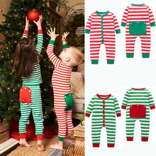 2019 Infant Kids Baby Boys Girls Clothes Christmas Matching Outfit Pajamas Stripe Rompers Back Pocket Button Jumpsuit Sleepwear