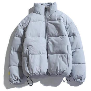 2021 Winter Coat Men's Warm Parkas Streetwear Cotton Coats Slim Male Jackets Solid Windproof Padded Coat Mens Clothing 1