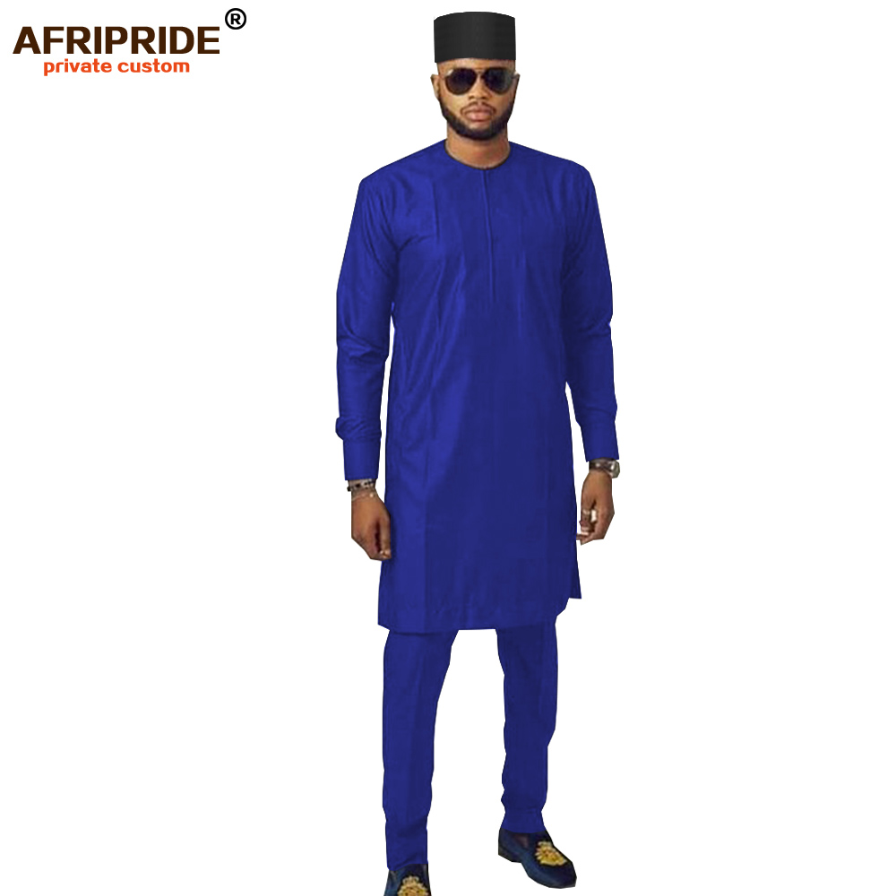2019 Men`s Triditional Clothing Set African Dashiki Long Sleeve Coats Ankara Pants+Tribal Hat Pockets Suit AFRIPRIDE A1916015