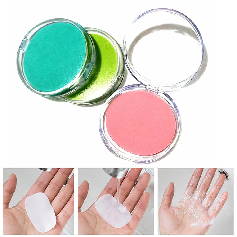 50Pcs/Set Outdoor Disposable Boxe Soap Portable Mini Paper Soap Round Washing Shower Paper Soap Scented Sheets