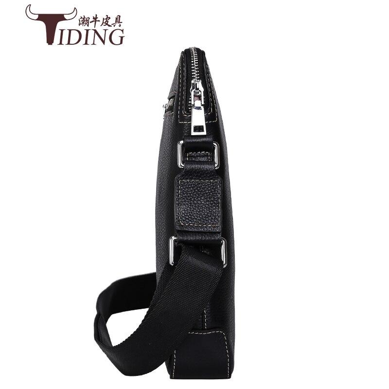 Mens Borse a Spalla Nero di Affari del Cuoio Genuino Casual di Modo Flap Crossbody Viaggio Messenger Bag Maschile - 4