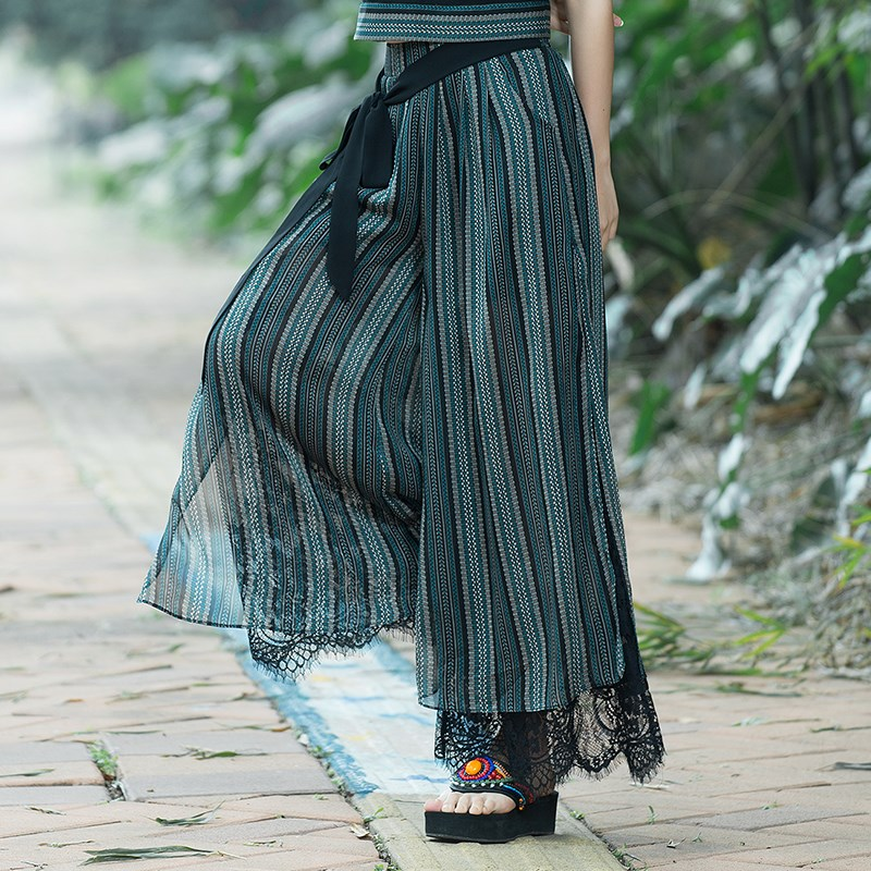 Plus Size Summer Fashion Women Striped Lace Loose Pants Wide Leg Pants Female Casual National Wind Capris Wide Leg Trousers