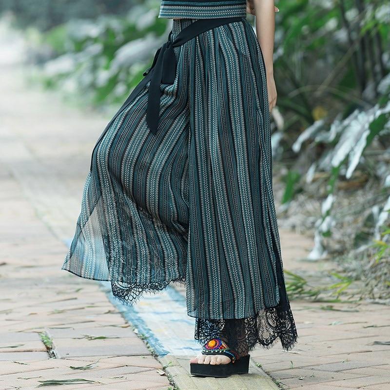 Plus Size Summer Fashion Women Striped Lace Loose Pants Wide Leg Pants Female Casual National Wind Capris Wide Leg Trousers