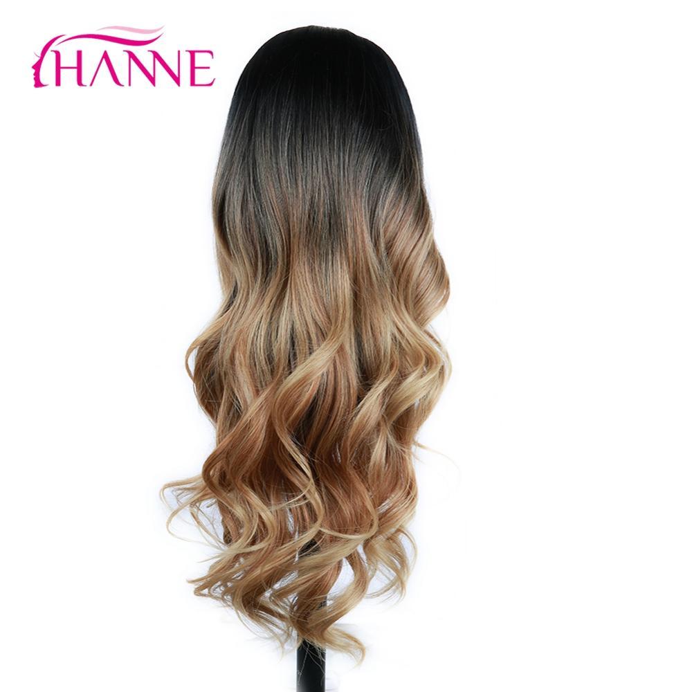 Hanne ロング合成波状のかつらオンブル茶色ブロンド/グレー耐熱性繊維の毛ブラック/ホワイト女性コスプレ/パーティー -     グループ上の ヘアエクステンション