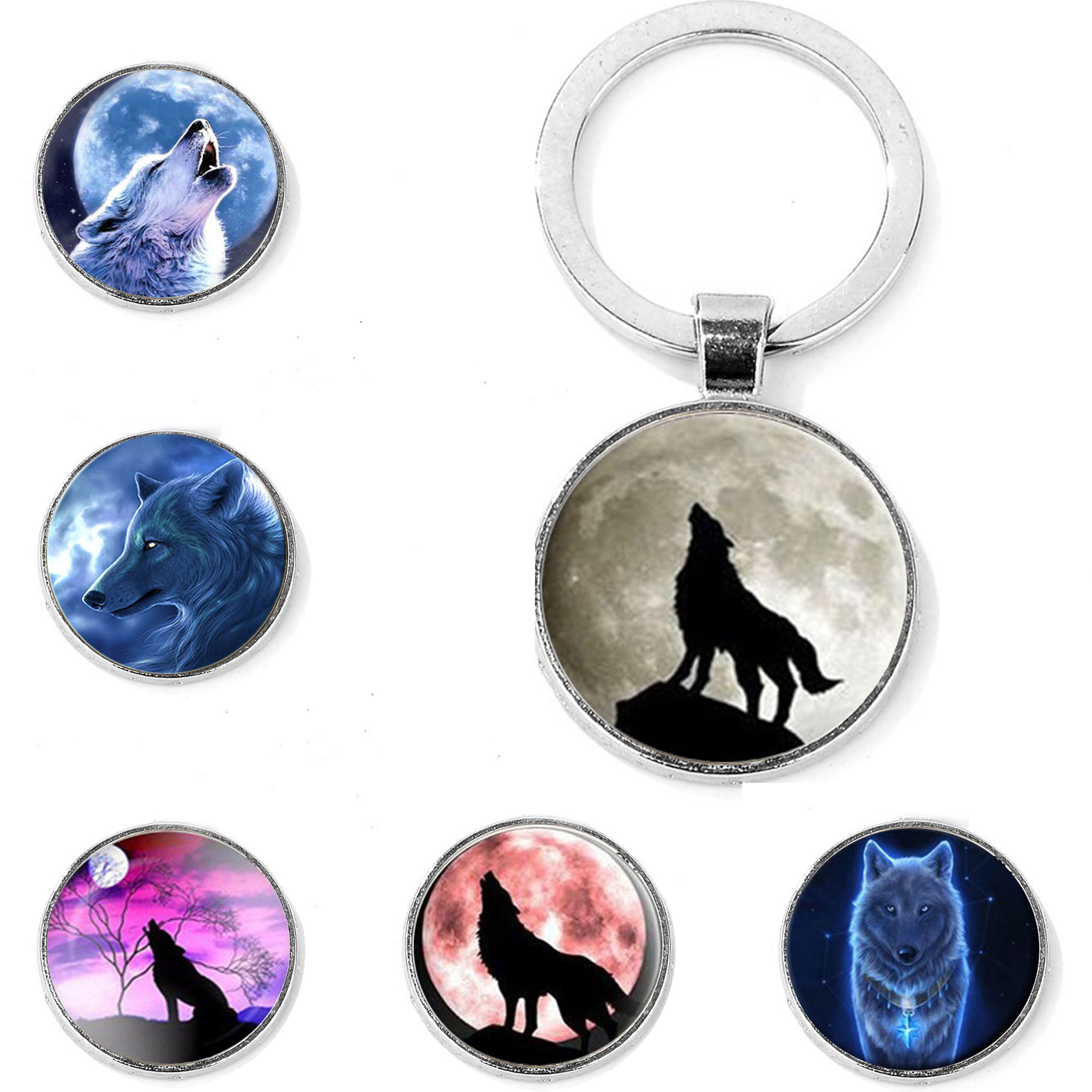 SONGDA Nordic Wiccan Wolf & Moon Keychain Cool Aggressive Wolf Howling Photo Glass Dome Key Chain For Men Fashion Animal Jewelry