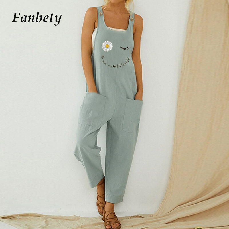Vintage Print Cotton Linen Women Jumpsuit 2020 Summer Elegant Button Strappy Backless Bodysuit Sexy Pocket Loose Trousers Romper