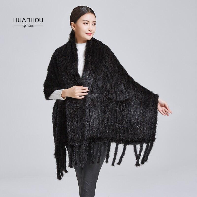Huanhou queen 2018 vraie nature vison fourrure châle, mode chaud et confortable, véritable vison fourrure châle, vison fourrure tricoté écharpes.