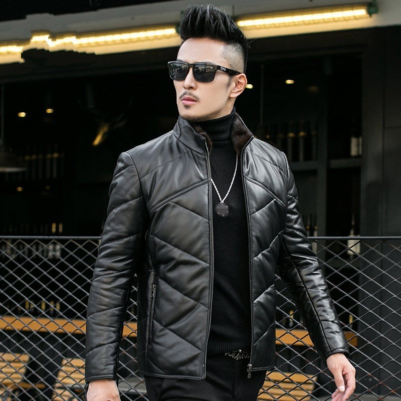 Brand sheepskin jacket men's short leather real top collar winter polar hot coat large size