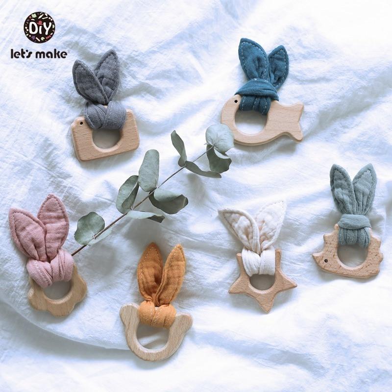 Let's Make Baby Teether Beech Wooden Teething Toys Cotton Bunny Ear Newborn Products Bpa Free Wood Animal Bear Hedgehog Teethers