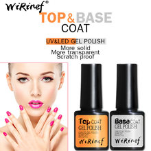 Hot Sale Top & Base Coat UV & LED Gel Polandia Mengatur Semua untuk Manikur Semi Permanen Pernis Pernis Rendam off Nail Art Gel Cat Kuku(China)