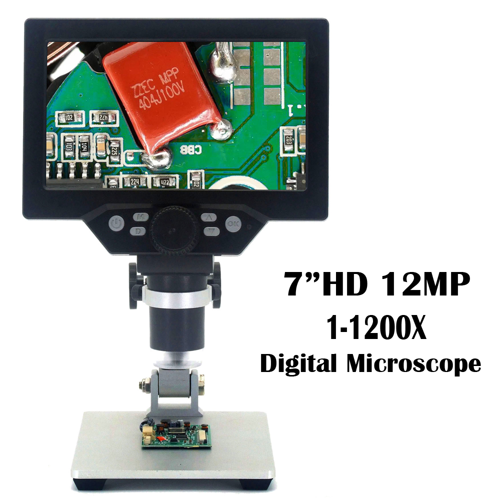 7' HD 12MP 1-1200X LCD Digital Microscope Electronic Video Microscopes Pcb BGA SMT Soldering Phone Repair Magnifier Alloy Stand