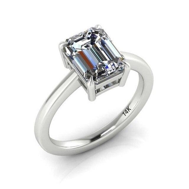 Design clássico tamanho 5-12 de alta qualidade aaa retângulo zircão anel amostra design casamento noivado anel todos os jogos