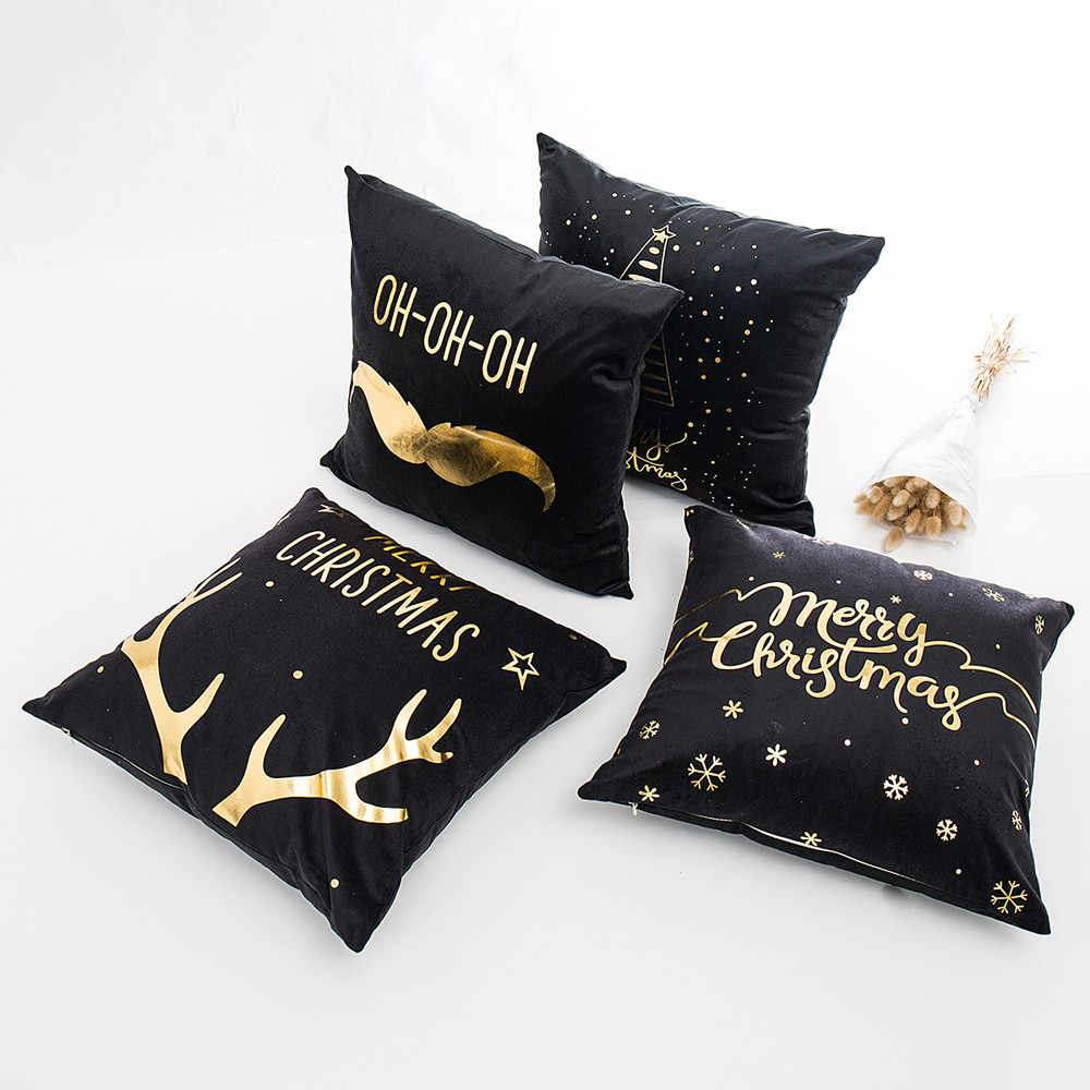 Black Christmas cushion cover 45cmX45cm Merry Christmas Gold Foil Printing christmas pillow  Sofa Waist Throw decoration home