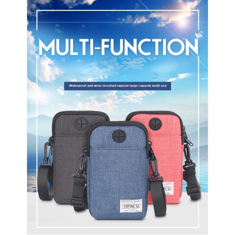 Multi-function Women Men Mobile Phone Bag Large Capacity Unisex Mini Crossbody Bag