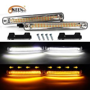 OKEEN 2x Universal Waterproof Car LED Daytime Running Light White DRL Flowing Yellow Turn Singla Light 12V Fog Lamp For All Cars
