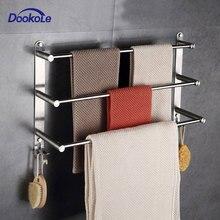 Вешалка для полотенец для ванной комнаты с крючками настенная, 304 держатель для полотенец из нержавеющей стали 3 уровень с держателем полотенцесушитель для хранения банных полотенец s