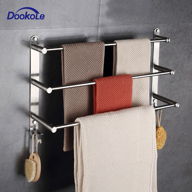 Bathroom Towel Rack With Hooks Wall Mounted, 304 Stainless Steel Towel Holder 3 Level Holder Towel Bar For Storage Bath Towels