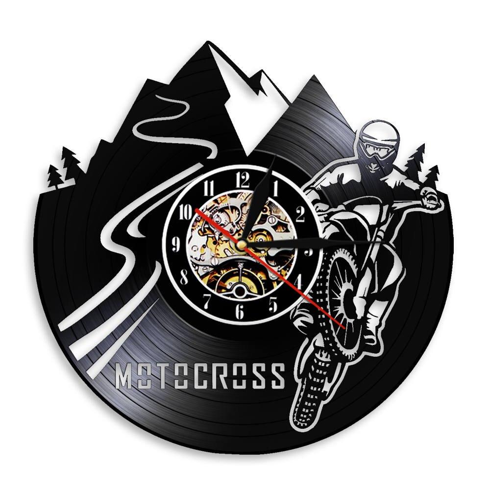 Ev ve Bahçe'ten Duvar Saatleri'de Motocross bisiklet spor motorlu çocuk duvar izle ev dekor kir bisiklet vinil kayıt duvar saati motokros yarışı motosiklet biniciler için hediye title=