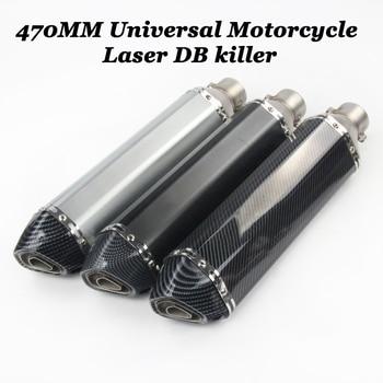 470mm Universal Motorcycle Exhaust Pipe Escape Muffler With DB Killer Sticker For Ninjia300 250 Z750 R25 R3 TMAX530 R6 Dirt Bike 570mm 480mm 380mm universal motorcycle akrapovic exhaust muffler z900 r3 tmax530 cbr300 tnt250 bn300 hexagonal escape silencer