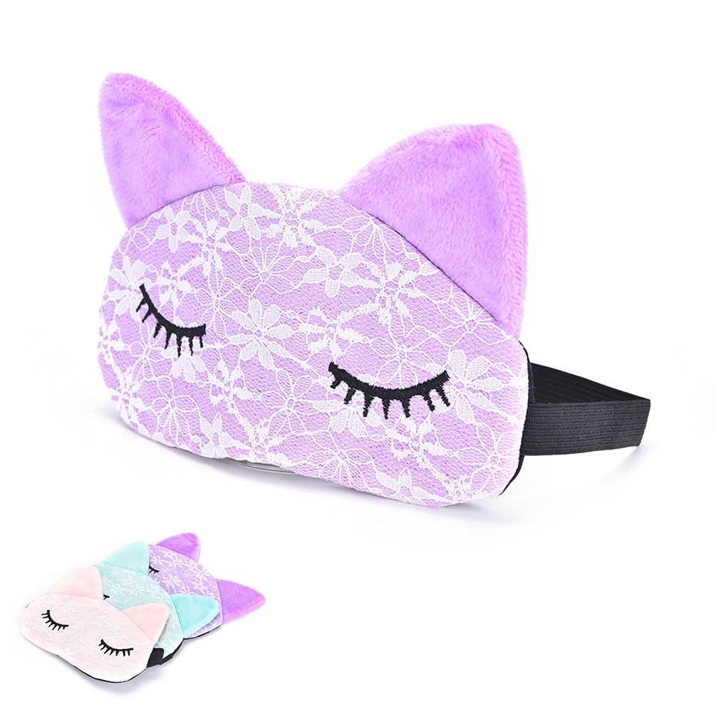 2020 Cartoon Lace Eyeshade maska do spania z mikrofibry Eye Eyepatch opaski na oczy, aby osłonić światło słodki kociak maska na oczy okładka