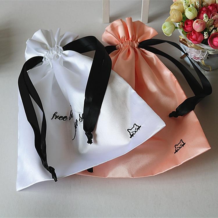 Custom Logo Packaging For Small Case Eyelashes High Quality Satin Bags Black Ribbon Drawstring Pocket 100pcs/lot