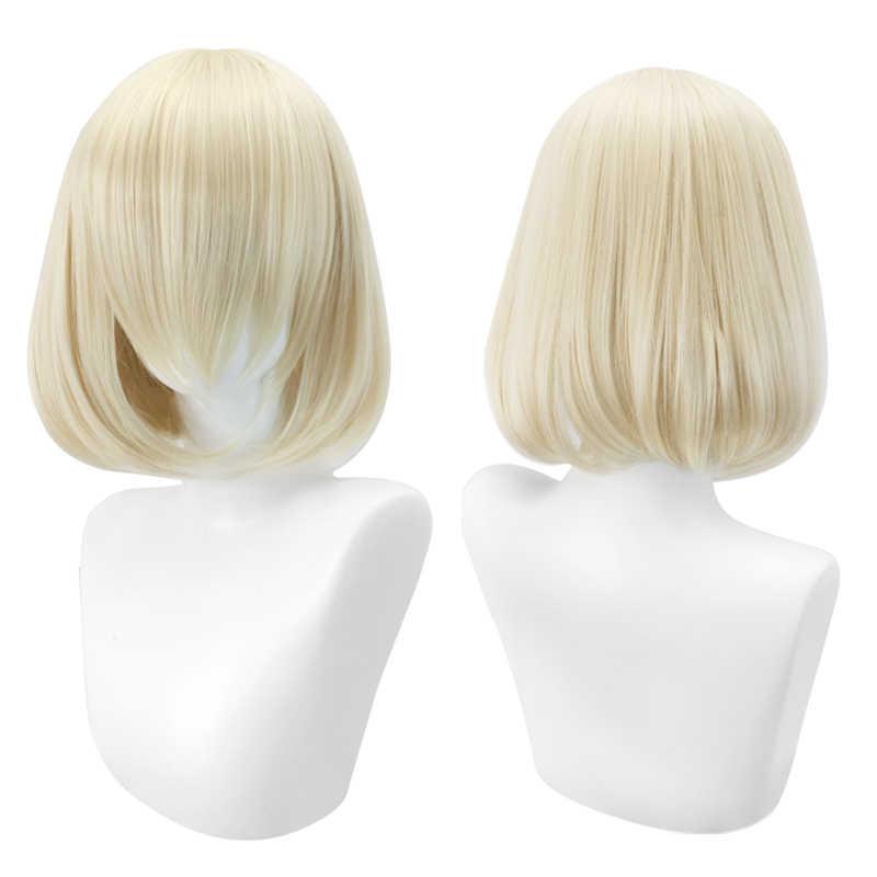 Cosplay breve Parrucca bob Lolita per le donne blu rosa giallo sintetico capelli biondi Puple azzurro rosso nero bianco rosso MUMUPI