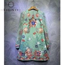 Seqinyy зеленое мини платье 2020 Лето Весна Новый модный дизайн