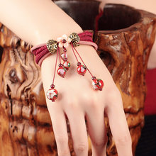 Women Bracelet Natural Bead Red String Thread Bracelet chakra Ethnic Stone Diffuser Bracelets Cute Jewelry gift Drop Shipping(China)