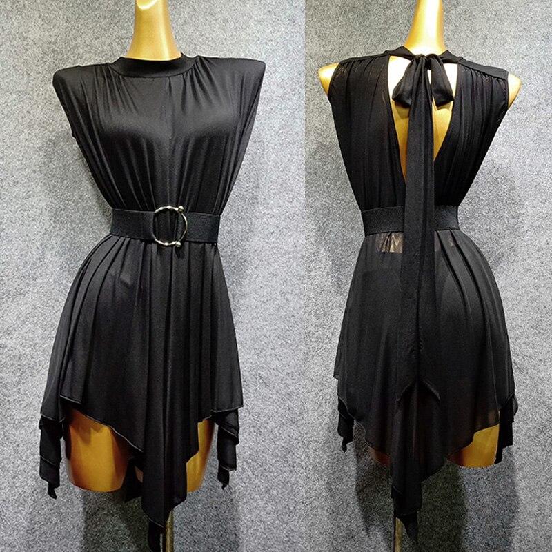 Latin Dance Dress Balck Style Sleeveless Top Sexy Backless Tango Salsa Samba Rumba Dancing Clothes Practice Dancewear DN3840