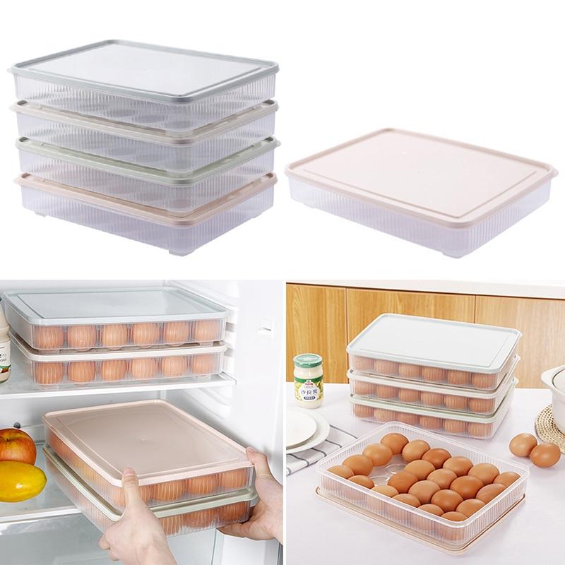 24 Grid Egg Box Refrigerator Preservation Box With Cover Food Grade Plastic Egg Holder Storage Box Fresh Protect Organizer