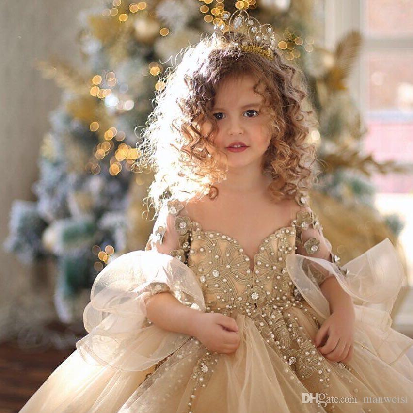 Champagne vestido de Baile Floristas Vestidos Para