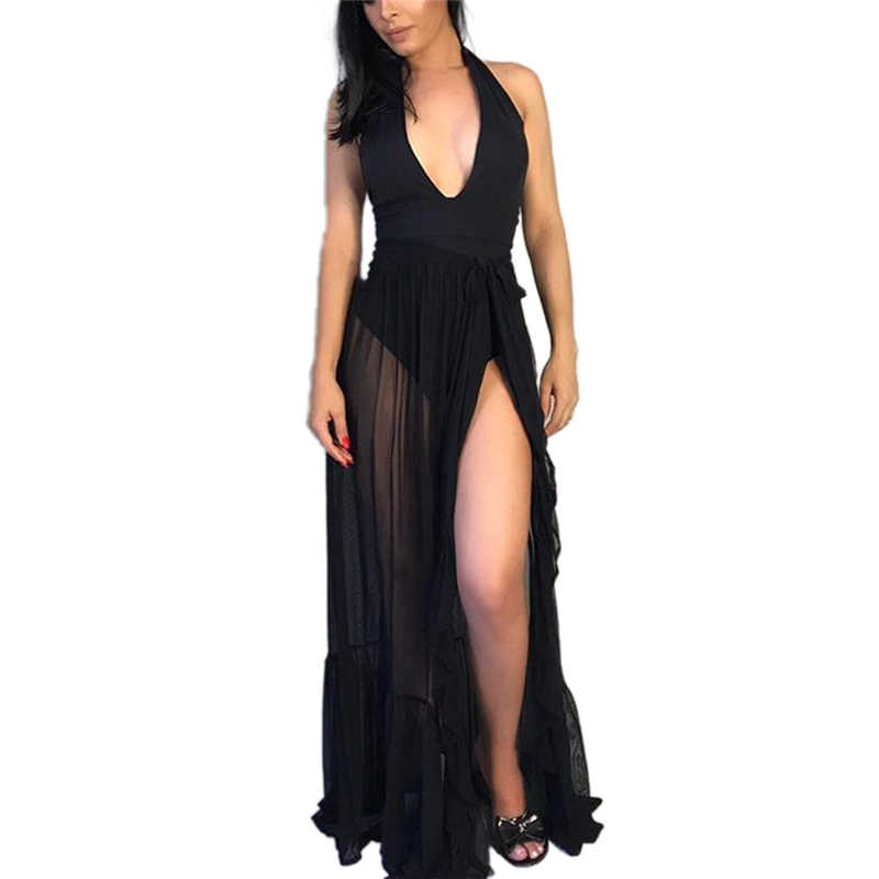 2020 กระโปรงฤดูร้อนแฟชั่นผู้หญิงตาข่าย SHEER เซ็กซี่ Beach ครีมกันแดดบิกินี่ COVER UP ห่อยาวกระโปรง Beachwear สุภาพสตรีกระโปรง