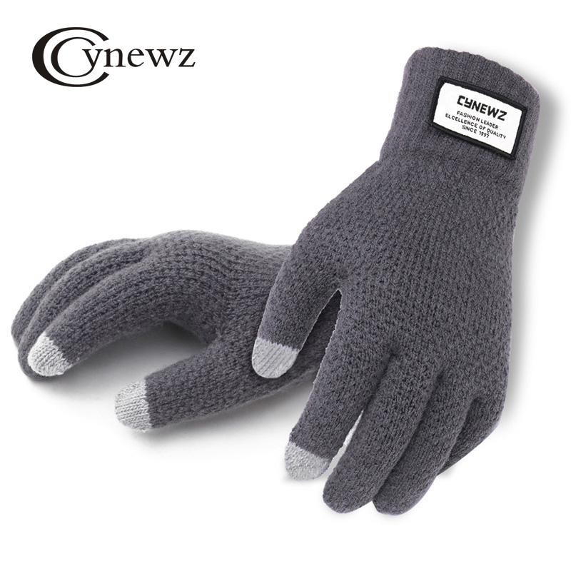 Anti Skid Cashmere Knitted Leather Patchwork Thick Wool Men Women Glove Cycling Winter Autumn Comfort Gloves