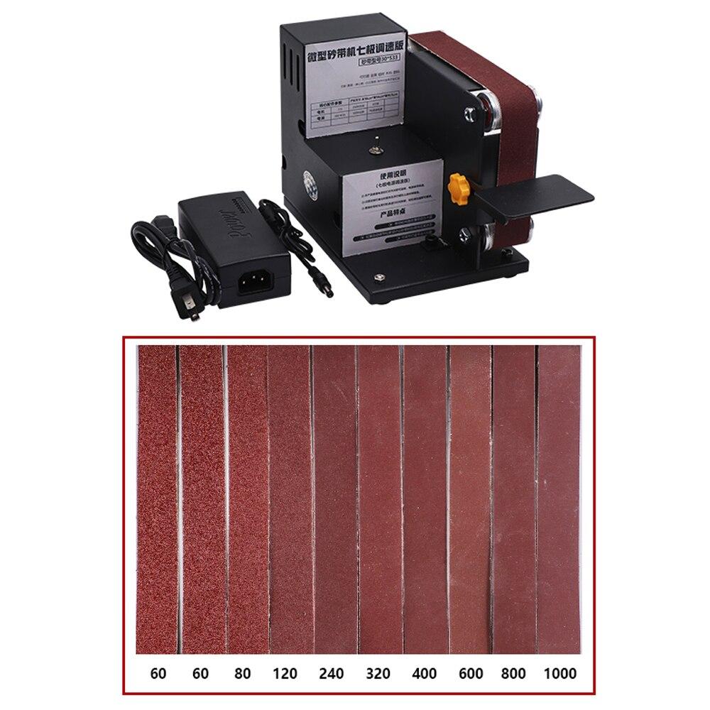 New 2019 7-gear Variable Speed  Mini DIY Sander Sanding Belt Adapter Metal Wood Sanding Belt With Sanding Belts Woodworking Tool