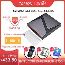 TOPTON 절묘한 디자인 소형 컴퓨터 PC 중핵 i9 9980HK i7 9750H i5 Nvidia GTX 1650 4GB 게임 소형 PC 64GB Window10 4K DP HDMI AC