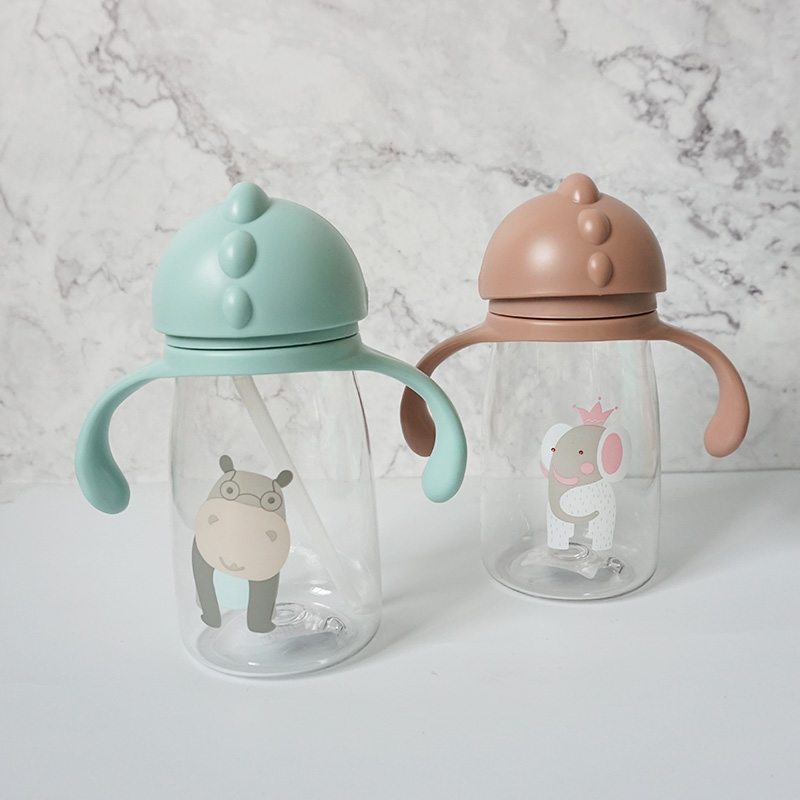 Kids Children Cartoon Animal School Drinking Water Straw Bottle Straw Sippy Baby Cup With Shoulder Strap 420ml