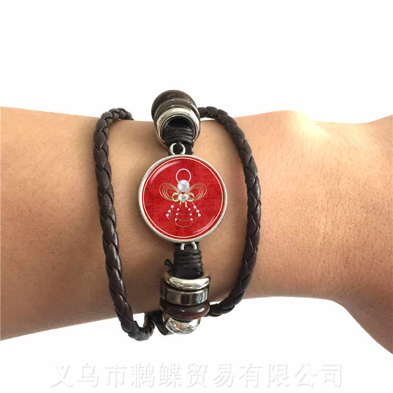 Lovely Romantic Christmas Angel Series Pattern 20mm Round Glass Cabochon Handmade Adjustable Leather Bracelet For Gift