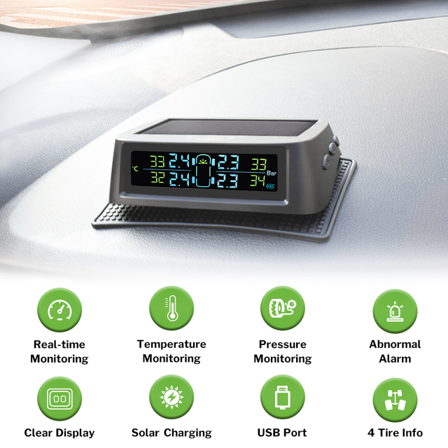 Deelife TPMS Solar System monitorowania ciśnienia w oponach 0-116 psi 0-8 bar TMPS ciśnienie w oponach samochodu Monitor wewnętrzny czujnik zewnętrzny