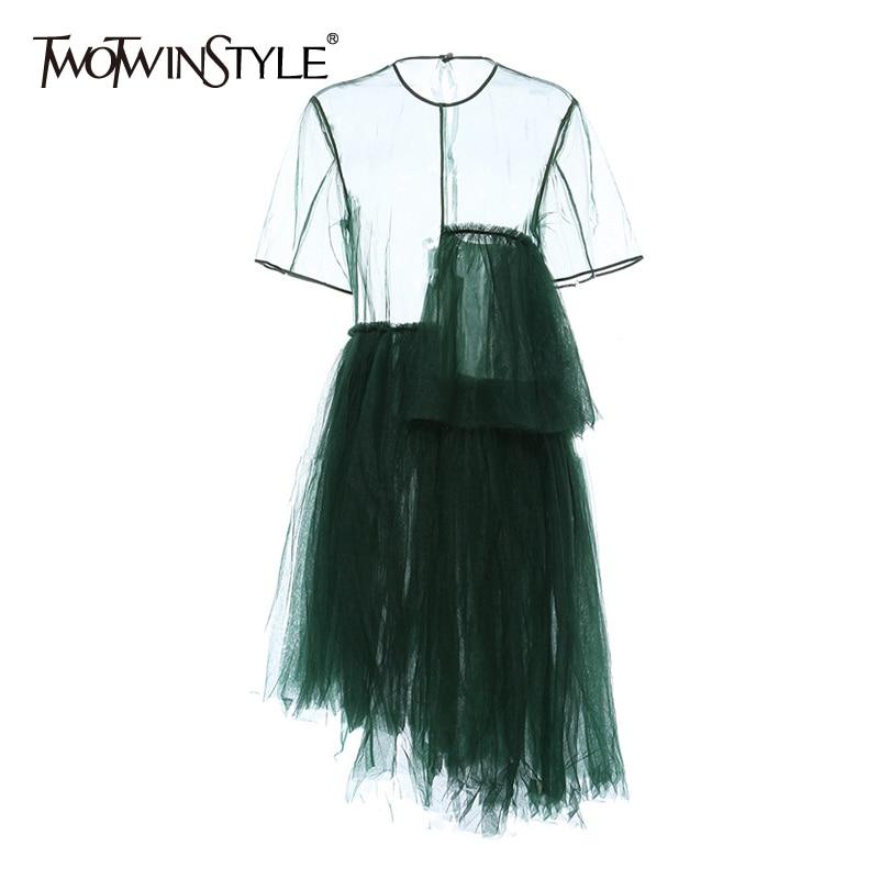 TWOTWINSTYLE Vintage Asymmetrical Women Dress O Neck Short Sleeve High Waist Irregular Hem Dresses For Female Fashion Clothing