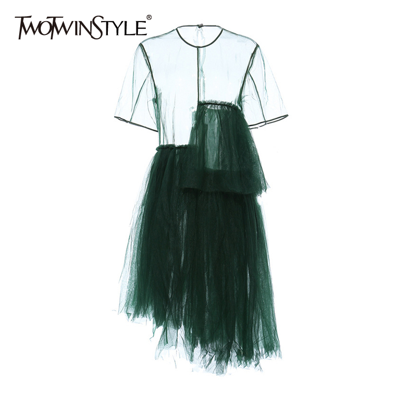TWOTWINSTYLE Vintage Asymmetrical Women Dress O Neck Short Sleeve High Waist Irregular Hem Dresses For Female Fashion Clothing