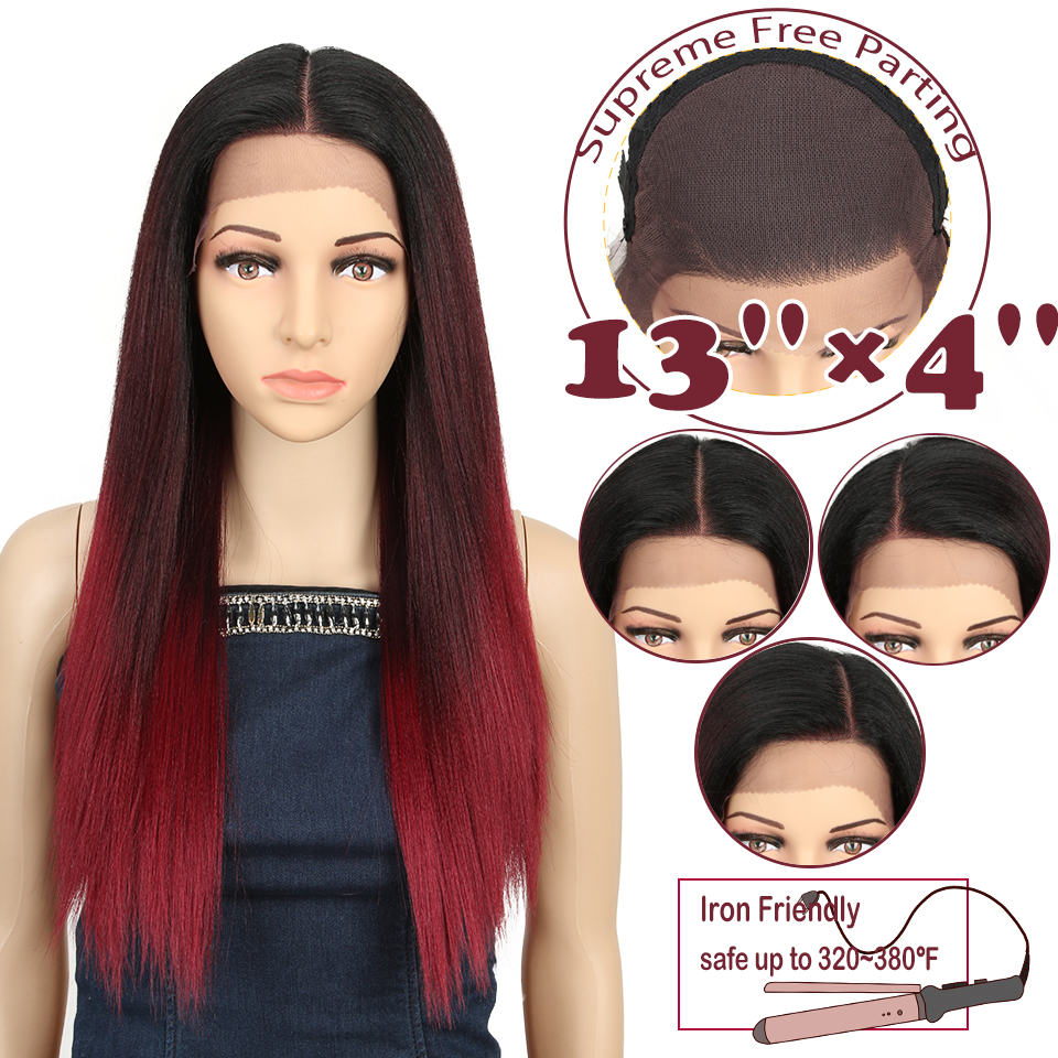 "Magic 13X4 Straight 24""Inch Synthetic Lace Front For Black Women Ombre Multicolor Lace Front Wig Cosplay Blonde Lace Front Wig"