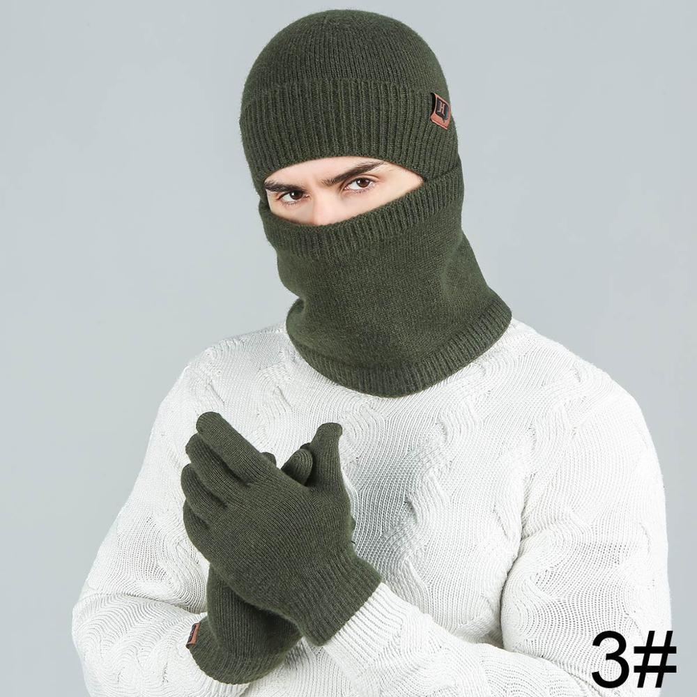 Evrfelan модный мужской женский зимний комплект шапка и шарф и наборы перчаток для мужчин вязаный плотный теплый комплект из 3 предметов аксессуары в стиле унисекс - Цвет: dark green