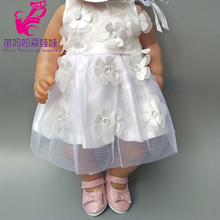 baby dolls white dress with flower also suit for 18 inch 45CM girl doll evening