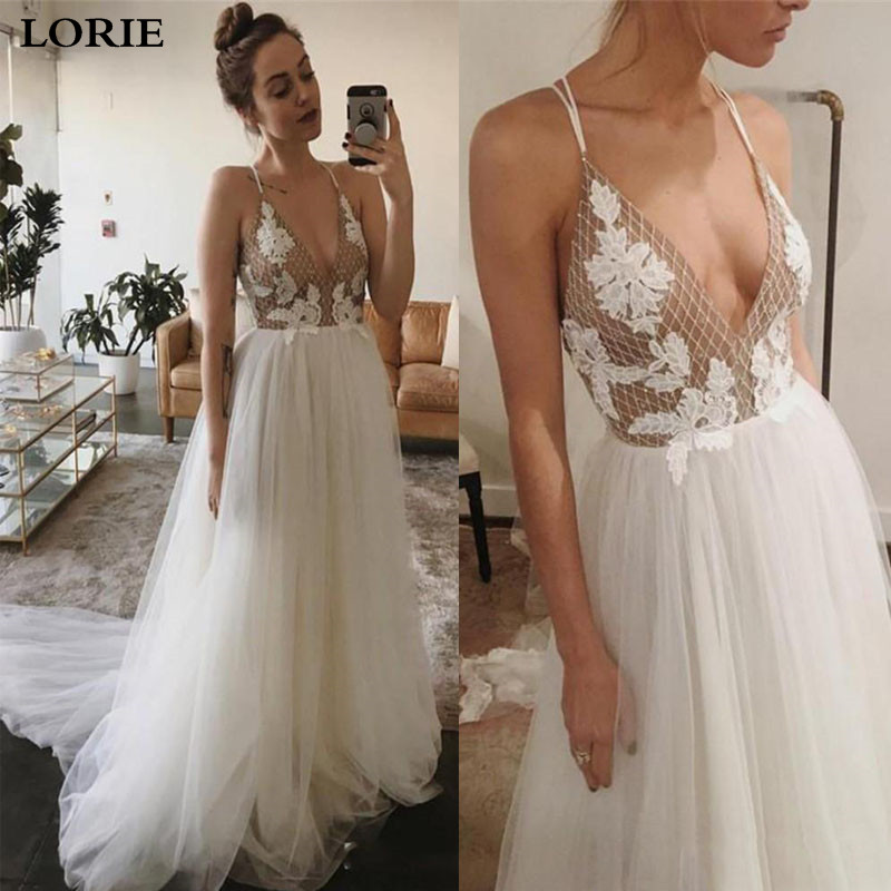 LORIE Boho Wedding Dress A Line Appliqued Lace Bride Dress  Spaghetti Straps Wedding Gowns Vestidos De Novia