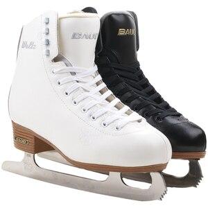 2018 для взрослых Тепловые Теплые утолщенные фигурные коньки обувь со льдом ПВХ водонепроницаемый белый черный